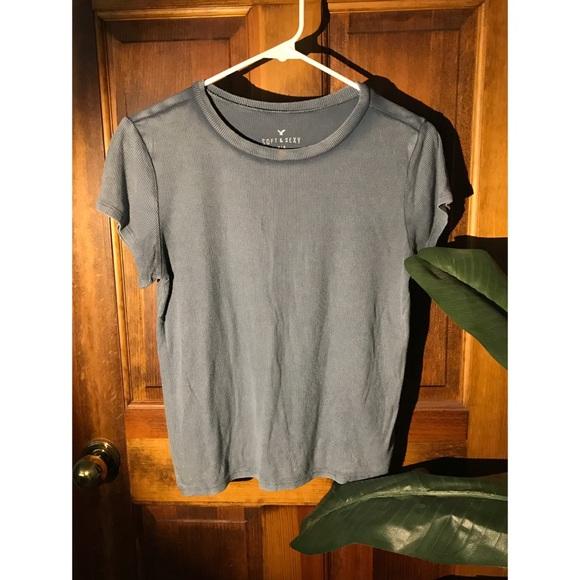 Dusty blue rubbed cotton t shirt